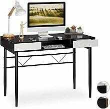 Relaxdays Schreibtisch Glas, Kabeldurchführung,