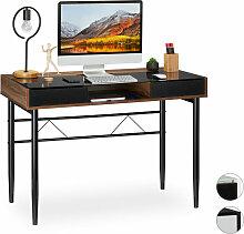 Relaxdays - Schreibtisch Glas, Kabeldurchführung,