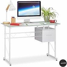 Relaxdays Schreibtisch, moderner Bürotisch mit