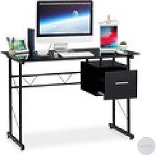 relaxdays Schreibtisch Schreibtisch Glas mit