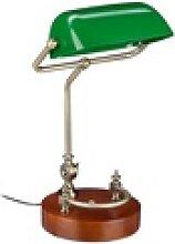 relaxdays Schreibtischlampe Bankerlampe grün