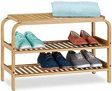 Relaxdays Schuhbank Bambus, 6 Paar Schuhe,