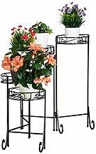 Relaxdays, schwarz Blumentreppe Metall, 5-stufig,