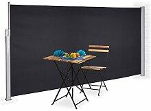 Relaxdays Seitenmarkise ausziehbar, Sichtschutz & Windschutz, Wandmontage, Kassettenmarkise HxB: 180 x 300 cm, anthrazi