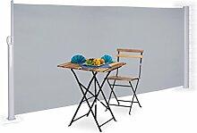 Relaxdays Seitenmarkise ausziehbar, Vollkassette zum Stellen, Balkon, UV-beständiger Sichtschutz HxB: 160x300 cm, grau