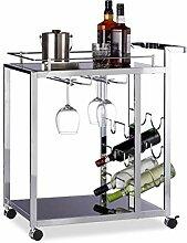 Relaxdays Servierwagen Glas BARON schwarz, Design