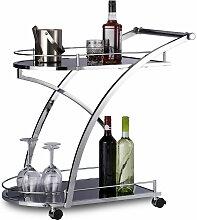 Relaxdays - Servierwagen Glas, Metall, HxBxT: 73 x