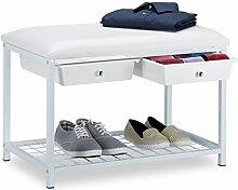 Relaxdays Sitzbank mit 2 Schubladen, Polsterung, PVC-Kunstleder, Stahl, Weiß, 42 x 67 x 43.5 cm