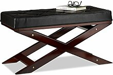 Relaxdays Sitzbank mit Polster ohne Lehne, aus Holz und Kunstleder, Zweisitzer, HxBxT 40 x 76 x 38, schwarz