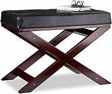 Relaxdays Sitzbank mit Polster ohne Lehne, aus Holz und Kunstleder, Einsitzer, HxBxT 48 x 64 x 40, schwarz