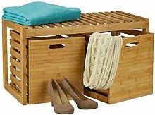 Relaxdays Sitzbank mit Stauraum, Bambus, 2