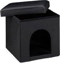 relaxdays Sitzhocker mit Hundebox   schwarz 38,0 x