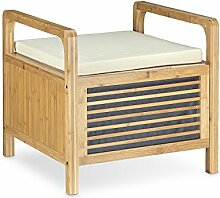 Relaxdays Sitzhocker mit Stauraum, Aufbewahrungsbox mit Sitzkissen, Bambus Hocker M HxBxT: 46 x 50,5 x 50 cm, natur