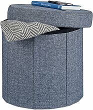 Relaxdays Sitzhocker mit Stauraum Größe M, Fußhocker mit Deckel, Polsterhocker zur Aufbewahrung, 38x38x38 cm, dunkelgrau