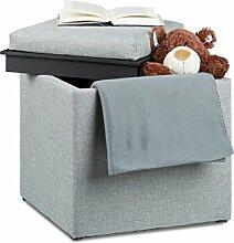 Relaxdays Sitzhocker mit Stauraum, HxBxT: 42 x 40,5 x 40,5 cm, Aufbewahrungsbox, Leinen Optik, Stoff, dunkelgrau
