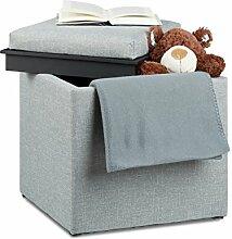 Relaxdays Sitzhocker mit Stauraum, HxBxT: 42 x 40,5 x 40,5 cm, Aufbewahrungsbox, Leinen Optik, Stoff, grau
