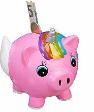 Relaxdays Spardose Schweinhorn, Einhorn-Schwein,