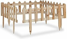 Relaxdays Steckzaun Holz 4er-Set, Gartendeko,