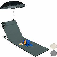 Relaxdays - Strandmatte, gepolsterte Strandliege