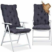 Relaxdays Stuhlauflage Hochlehner 2er Set,