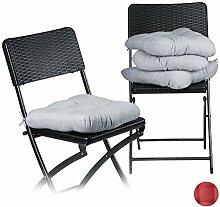 Relaxdays Stuhlkissen 4er Set, bequeme Sitzkissen