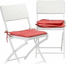 Relaxdays Stuhlkissen 4er Set, Sitzkissen mit
