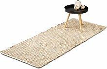 Relaxdays Teppich Jute, Flurläufer, 80 x 200 cm,