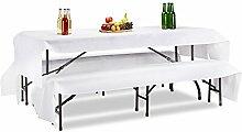 Relaxdays Tischdecke Bierzeltgarnitur 3er Set 250 x 100 cm, waschbare Biertisch Decke mit 2 Bierbank Auflagen, weiß