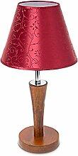 Relaxdays Tischlampe Holz mit verziertem Satin-Stoffschirm 10018917