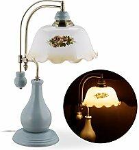 Relaxdays Tischlampe, Vintage Blumenmuster,