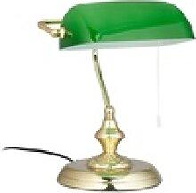 relaxdays Tischleuchte Bankerlampe mit Zugschalter