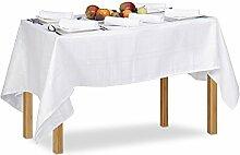 Relaxdays Tischwäsche weiß, 130 x 180 cm