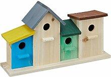 Relaxdays Vogelhäuser auf Holzsockel, Außen