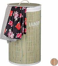 Relaxdays Wäschekorb Bambus, 50 l, rund, mit