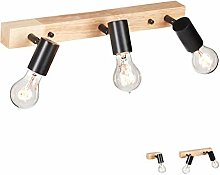 Relaxdays Wandlampe Holz, Retro Lampe für Wand &
