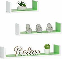 Relaxdays Wandregal, 3er Set, Eckige U-Form,