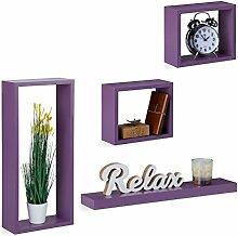 Relaxdays Wandregal 4er Set, Cube Regale Holz,