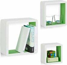 Relaxdays Wandregal Cube 3er Set, quadratische MDF