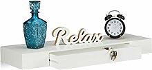 Relaxdays Wandregal mit Schublade, hängend,