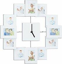 Relaxdays Wanduhr mit Bilderrahmen, Fotouhr für eigene Bilder, zum Selbstgestalten, HxBxT: 35 x 35 x 4 cm, weiß