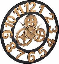 Relaxdays Wanduhr Zahnrad, XL Uhr zum Aufhängen,