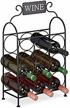 Relaxdays Weinregal, 9 Flaschen, dekorativer