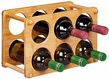 Relaxdays Weinregal, Bambus, 6 Flaschen,
