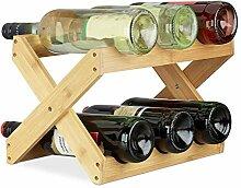 Relaxdays Weinregal Bambus, X Shape, 6 Flaschen,