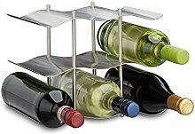 Relaxdays Weinregal Edelstahl für 9 Flaschen,