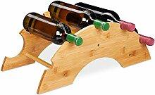 Relaxdays Weinregal für 5 Flaschen, Bambus,