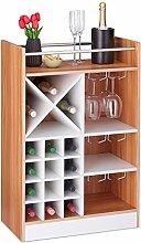 Relaxdays Weinregal mit Glashalter, 22 Flaschen,