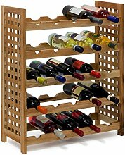 Relaxdays Weinregal Walnuss für 25 Flaschen