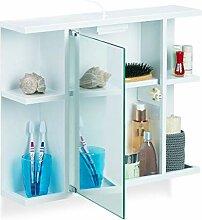 Relaxdays, Weiß Spiegelschrank Bad, Badschrank