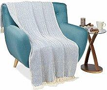 Relaxdays Wohndecke weiß-blau, Kuscheldecke aus 100% Baumwolle, Wolldecke mit Zickzack-Muster, B x T: ca. 130 x 170 cm